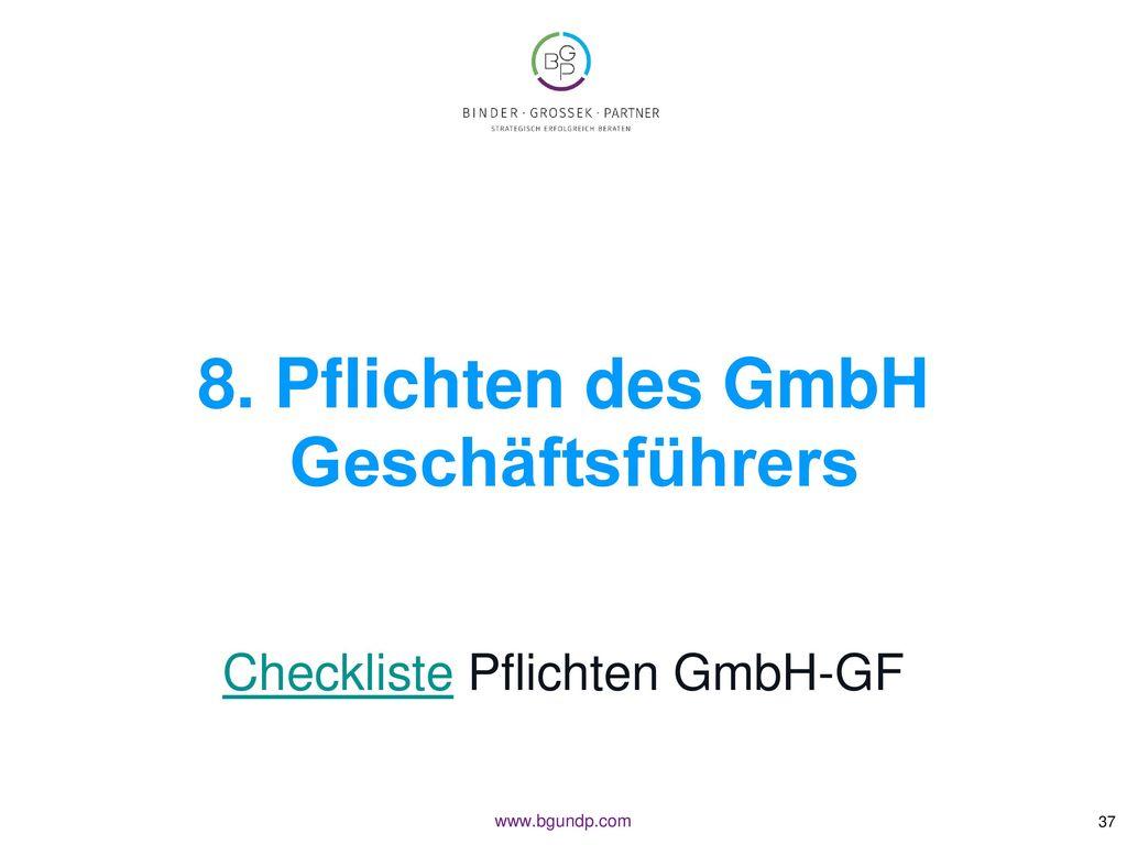 8. Pflichten des GmbH Geschäftsführers