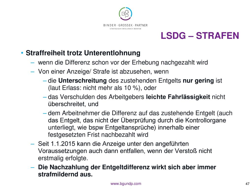 LSDG – Strafen Straffreiheit trotz Unterentlohnung