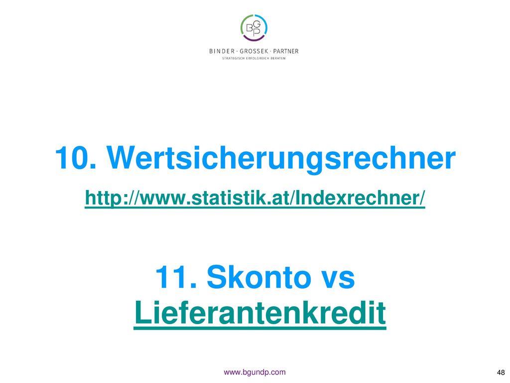 10. Wertsicherungsrechner 11. Skonto vs Lieferantenkredit