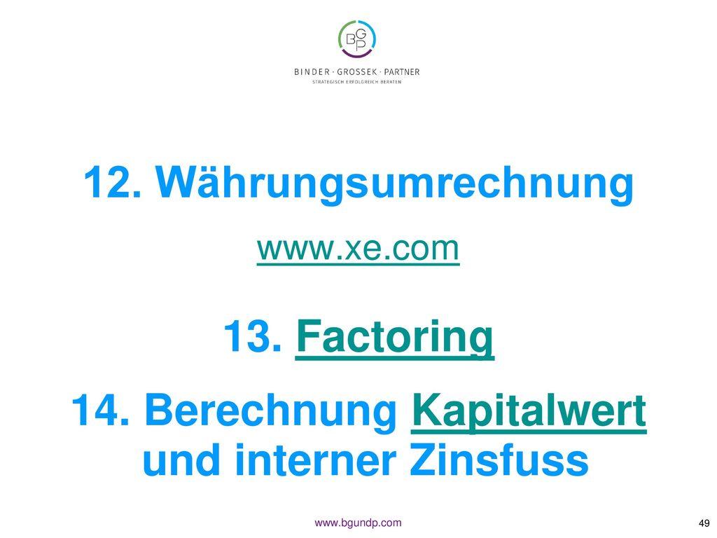 14. Berechnung Kapitalwert und interner Zinsfuss