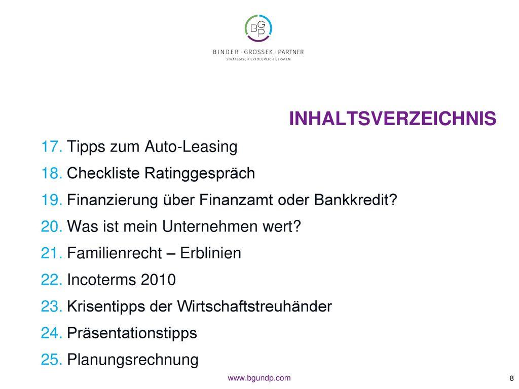 Inhaltsverzeichnis Tipps zum Auto-Leasing Checkliste Ratinggespräch