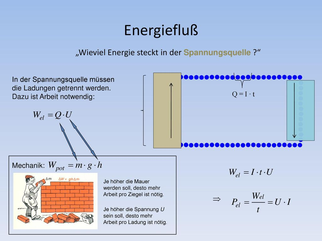 """Energiefluß """"Wieviel Energie steckt in der Spannungsquelle"""