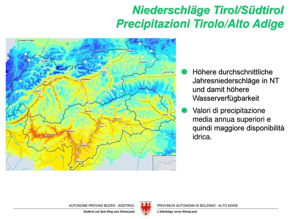 Niederschläge Tirol/Südtirol Precipitazioni Tirolo/Alto Adige