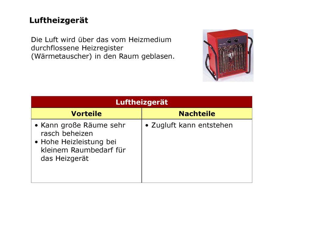 Luftheizgerät Die Luft wird über das vom Heizmedium durchflossene Heizregister (Wärmetauscher) in den Raum geblasen.