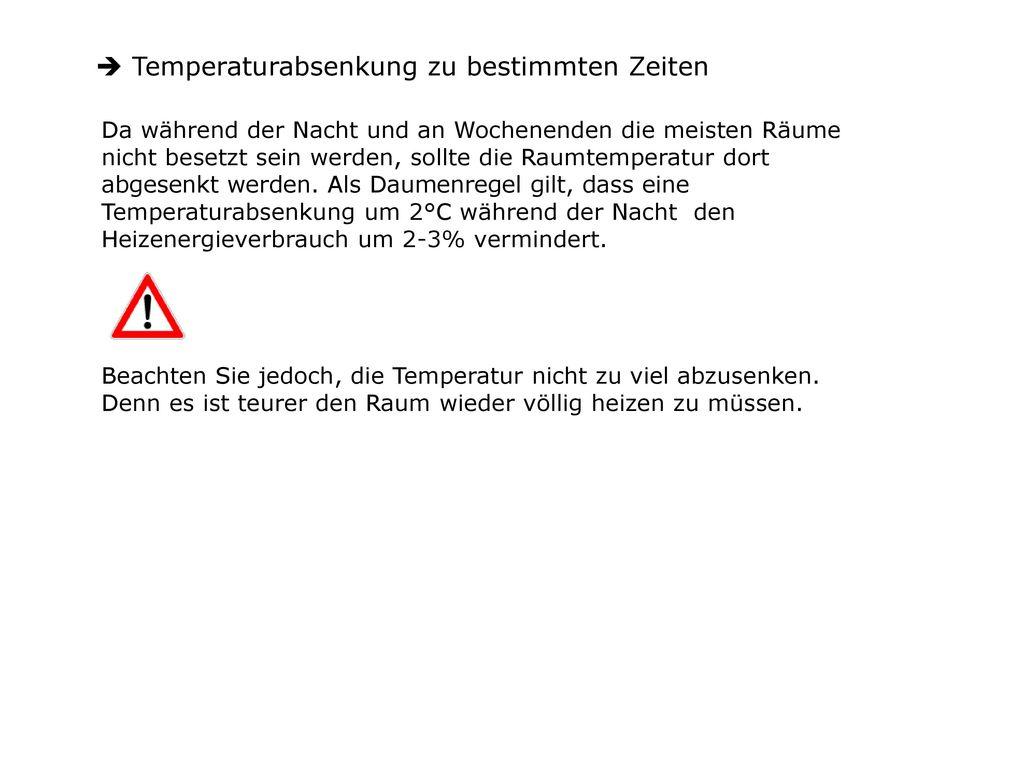 Temperaturabsenkung zu bestimmten Zeiten
