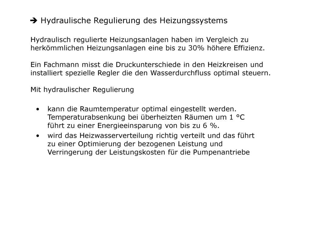 Hydraulische Regulierung des Heizungssystems