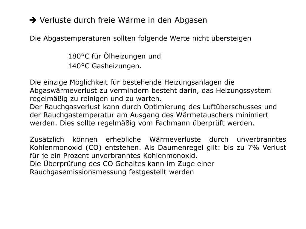 Verluste durch freie Wärme in den Abgasen