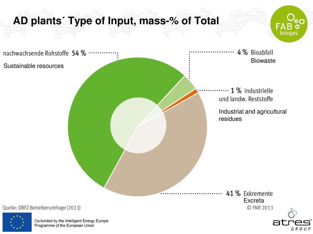AD plants´ Type of Input, mass-% of Total