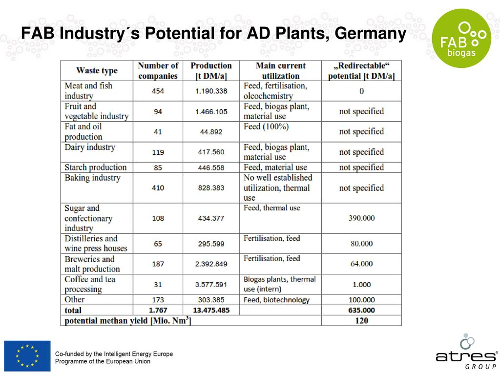 FAB Industry´s Potential for AD Plants, Germany