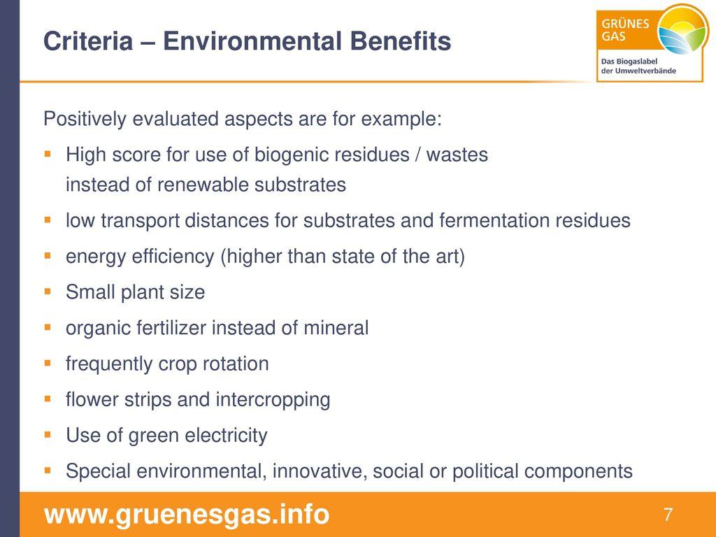 Criteria – Environmental Benefits