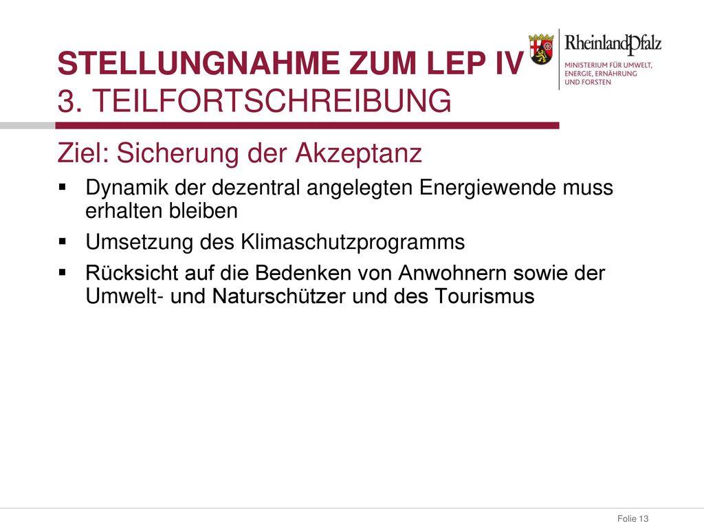 Stellungnahme zum LEP IV 3. Teilfortschreibung