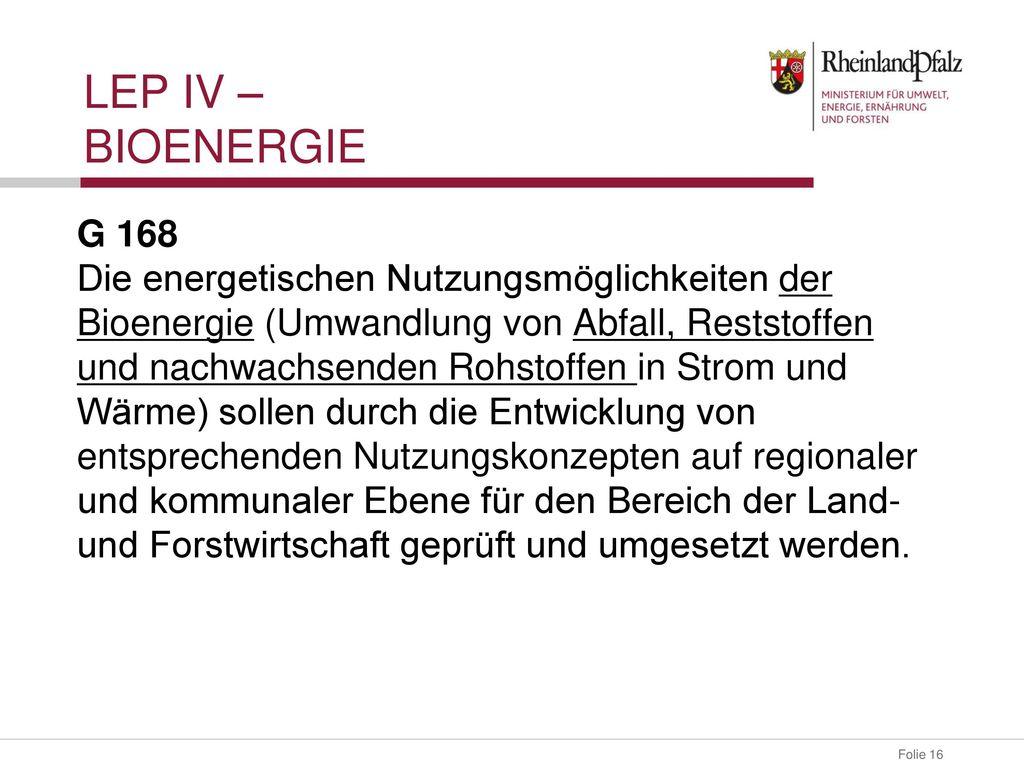 LeP IV – Bioenergie