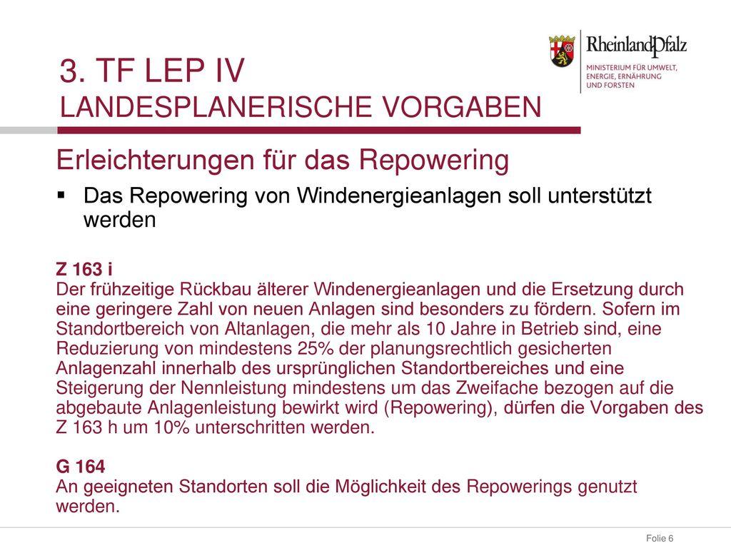 3. TF LEP IV landesplanerische Vorgaben