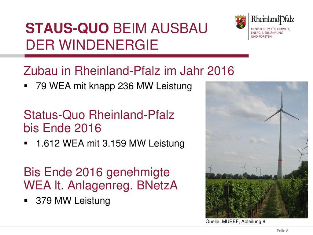 Staus-Quo beim Ausbau der Windenergie