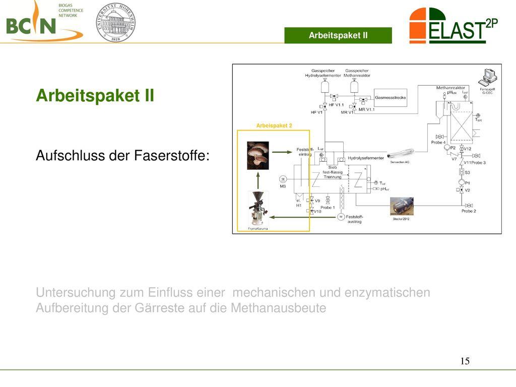 Arbeitspaket II Aufschluss der Faserstoffe: