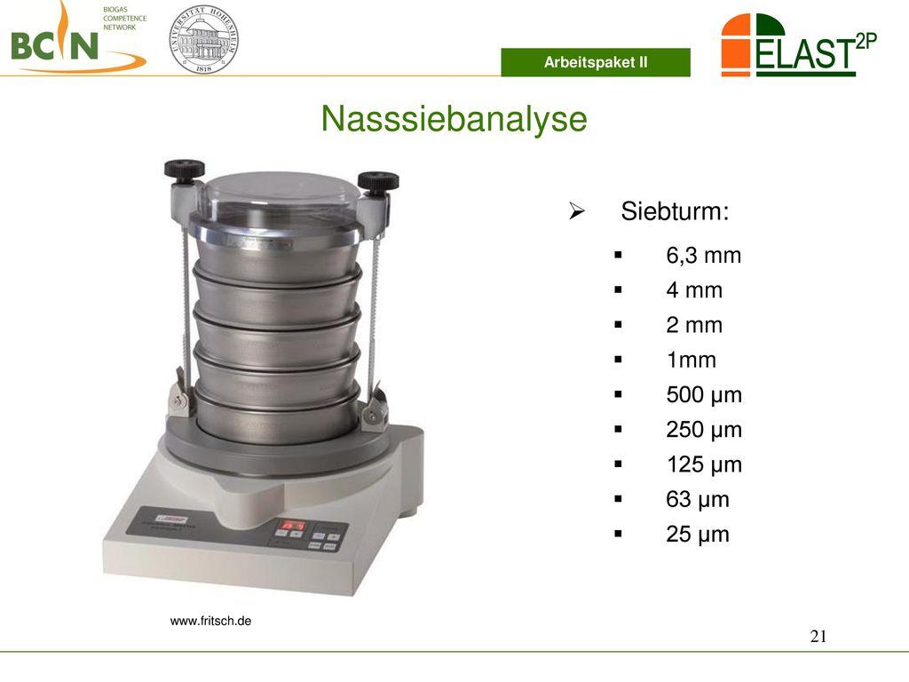 Nasssiebanalyse Siebturm: 6,3 mm 4 mm 2 mm 1mm 500 µm 250 µm 125 µm