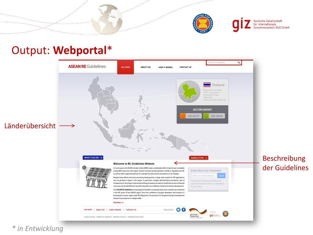 Output: Webportal* Länderübersicht Beschreibung der Guidelines