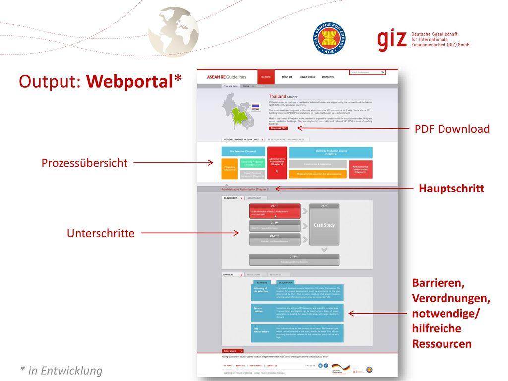 Output: Webportal* PDF Download Prozessübersicht Hauptschritt