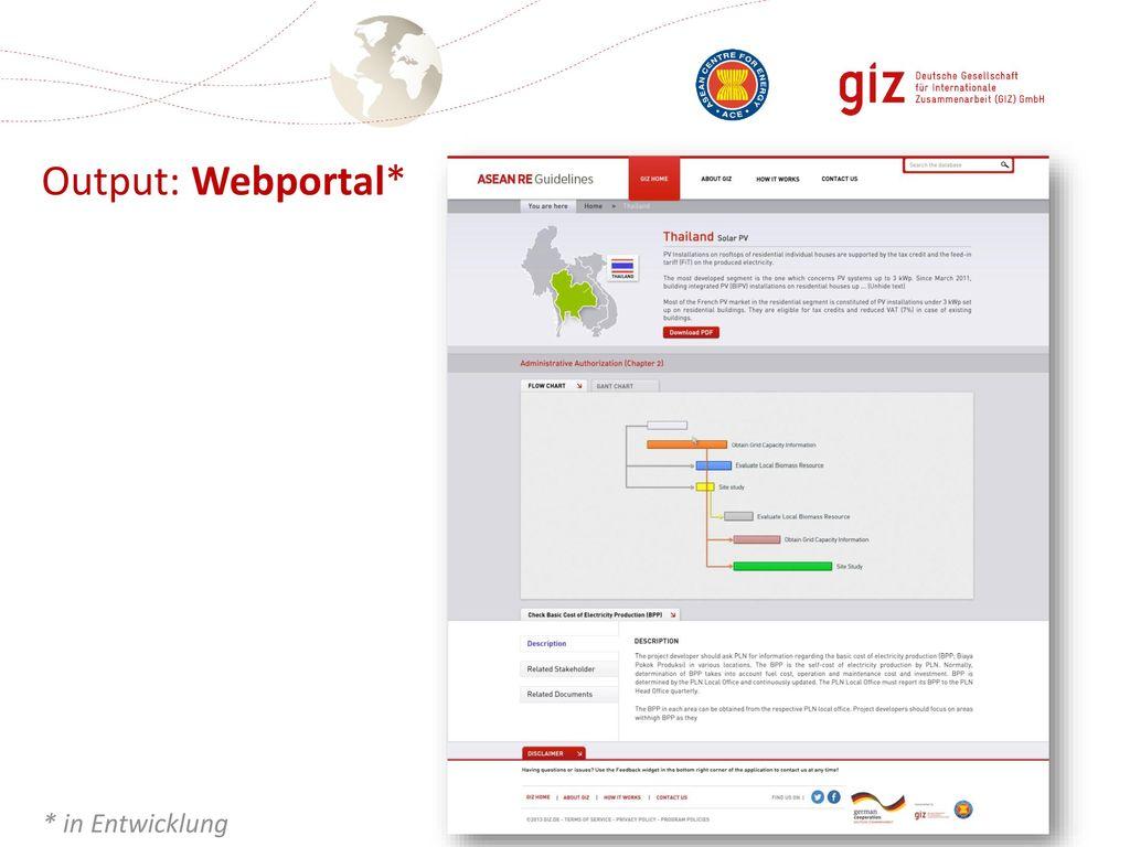 Output: Webportal* * in Entwicklung