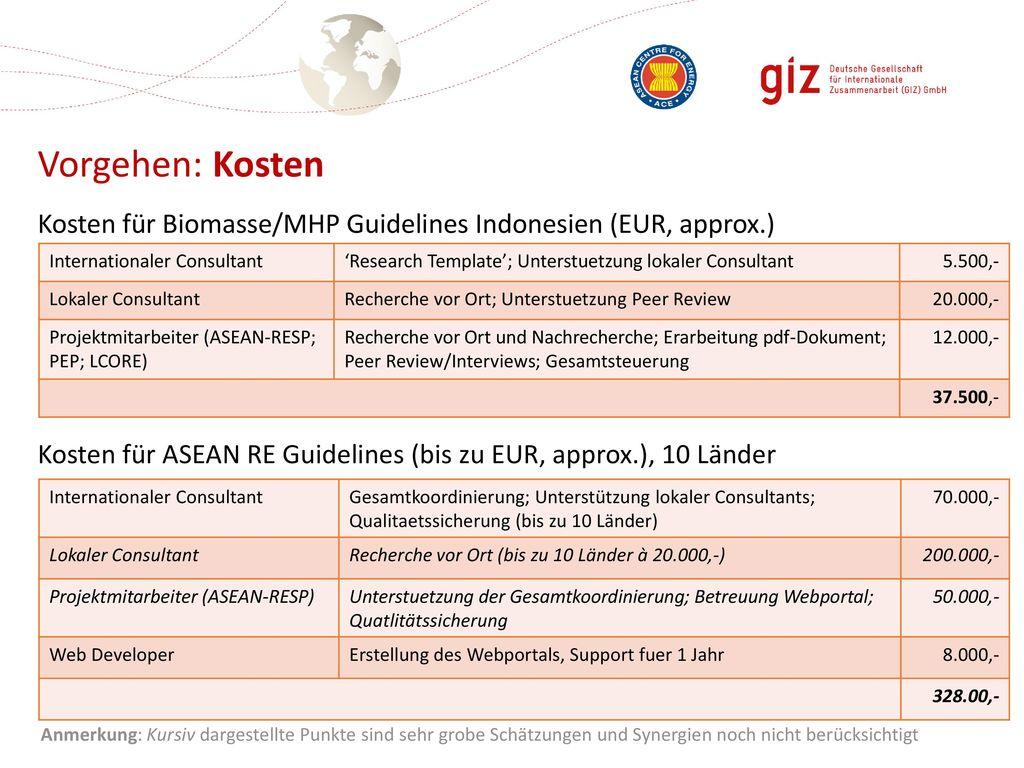 Vorgehen: Kosten Kosten für Biomasse/MHP Guidelines Indonesien (EUR, approx.) Kosten für ASEAN RE Guidelines (bis zu EUR, approx.), 10 Länder