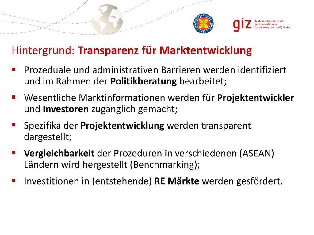 Hintergrund: Transparenz für Marktentwicklung