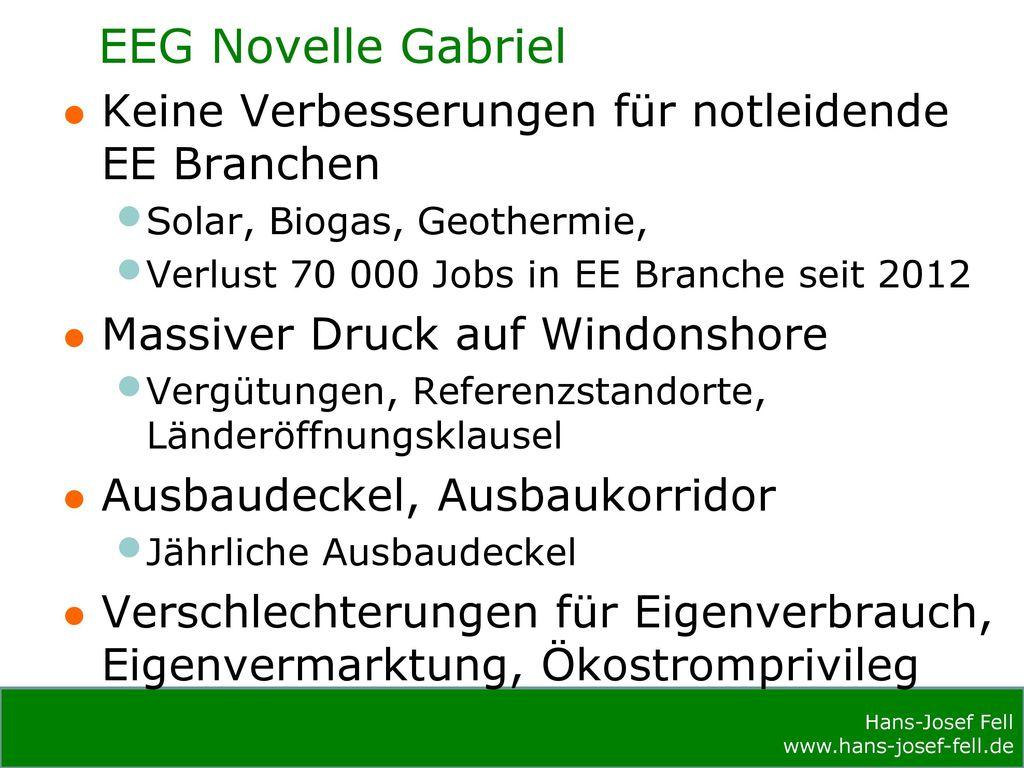 EEG Novelle Gabriel Keine Verbesserungen für notleidende EE Branchen