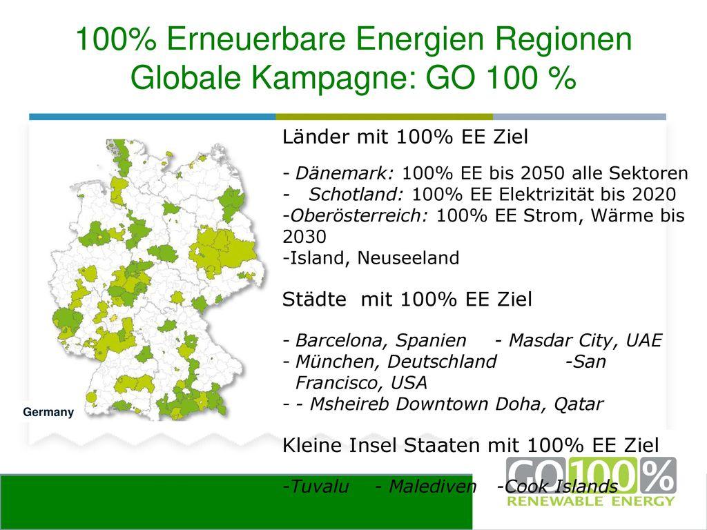 100% Erneuerbare Energien Regionen Globale Kampagne: GO 100 %
