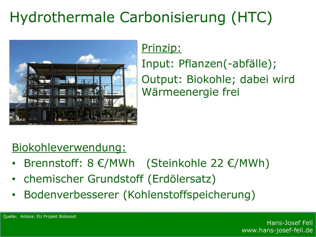 Hydrothermale Carbonisierung (HTC)