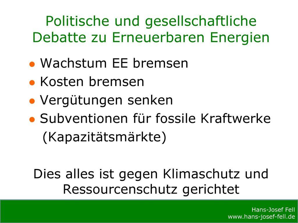 Politische und gesellschaftliche Debatte zu Erneuerbaren Energien
