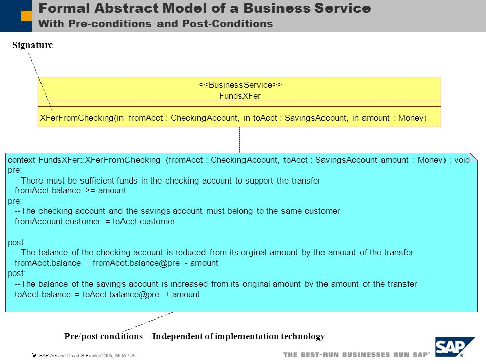 Formal Abstract Model of a Business Service With Pre-conditions and Post-Conditions