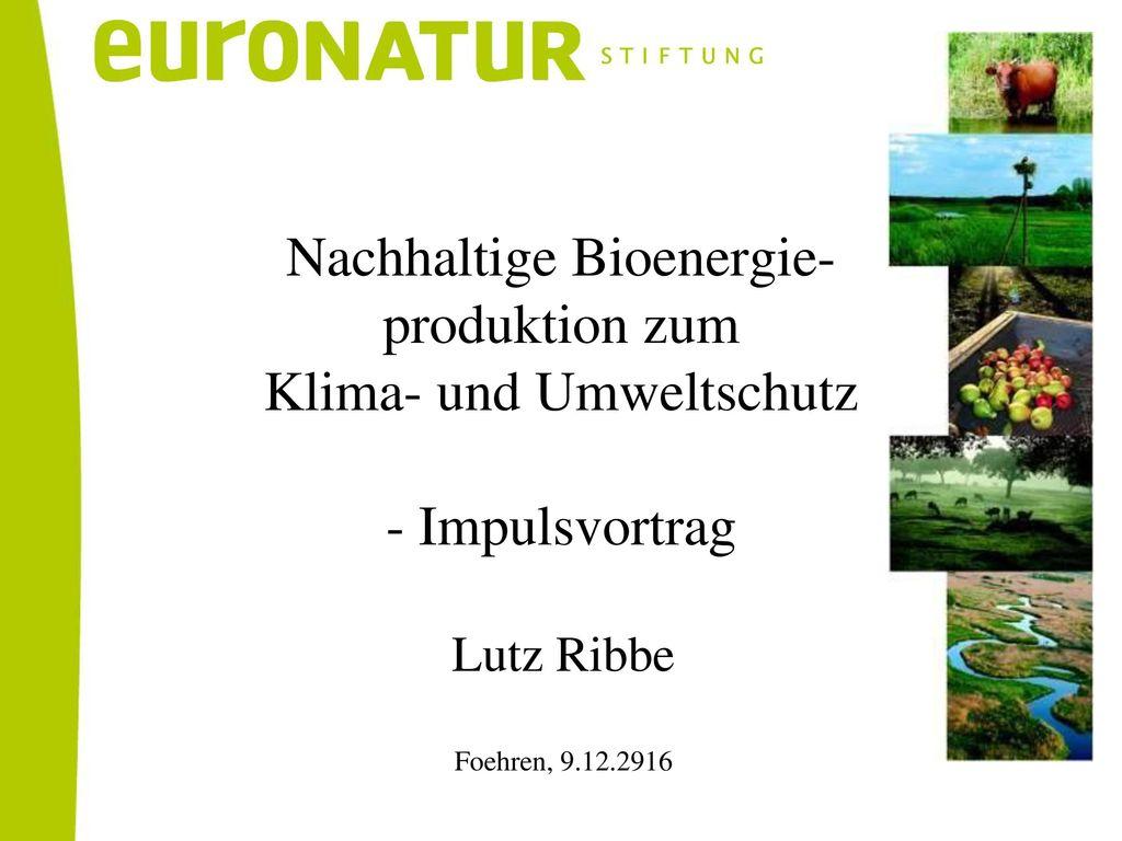 Nachhaltige Bioenergie- produktion zum Klima- und Umweltschutz - Impulsvortrag
