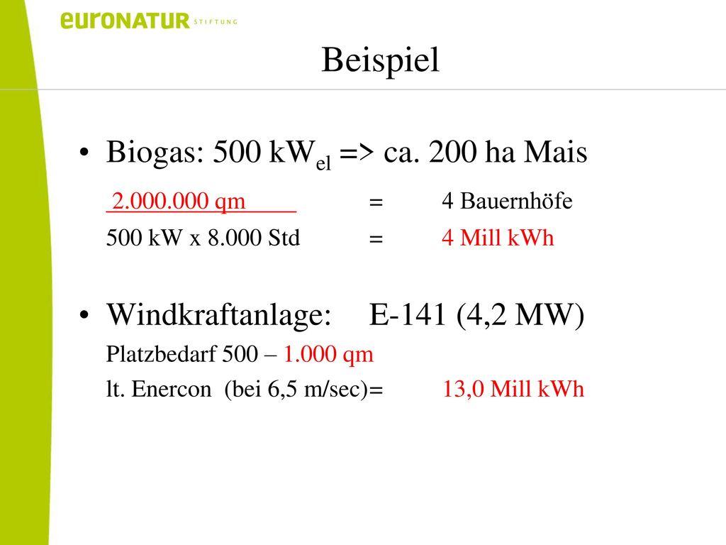 Beispiel Biogas: 500 kWel => ca. 200 ha Mais