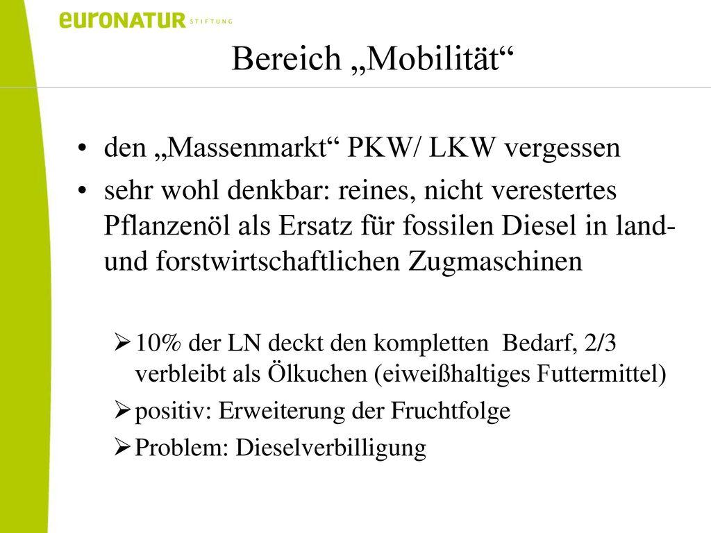 """Bereich """"Mobilität den """"Massenmarkt PKW/ LKW vergessen"""