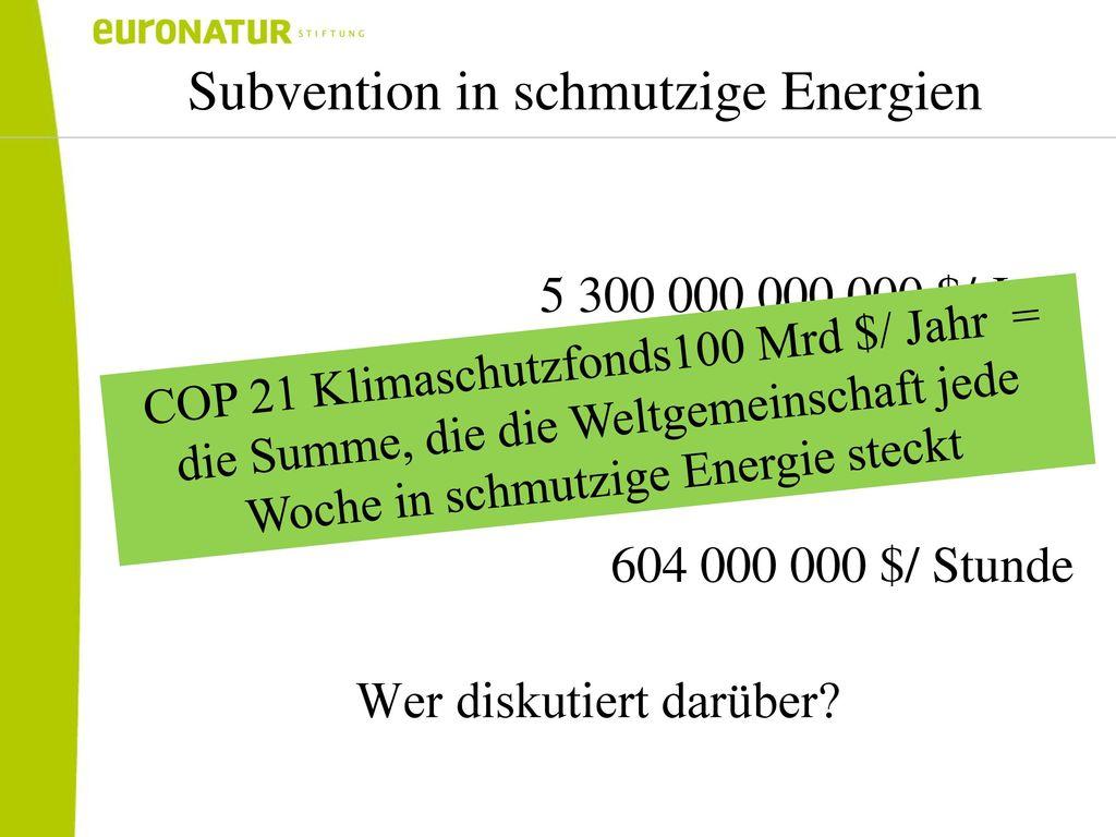 Subvention in schmutzige Energien