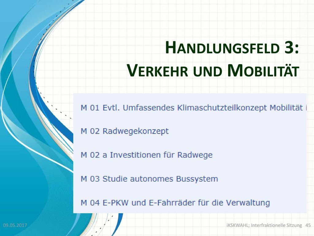 Handlungsfeld 3: Verkehr und Mobilität