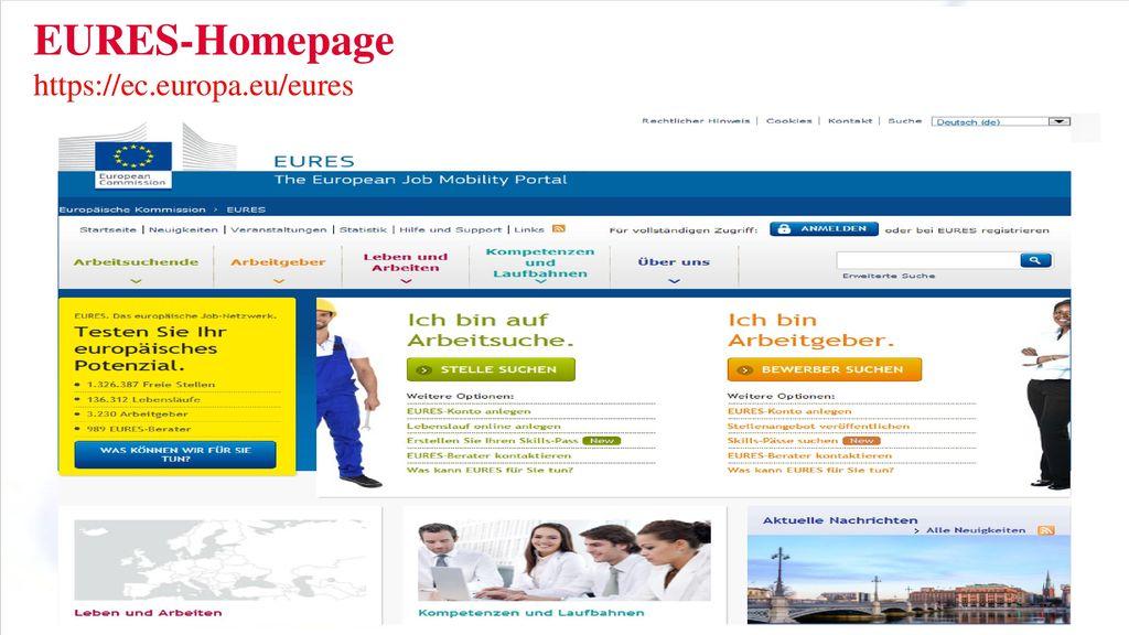 Eures Homepage Stellenangebote – Jobsuche/Praktika