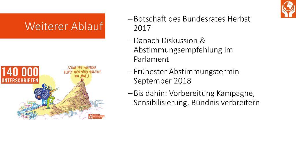 Weiterer Ablauf Botschaft des Bundesrates Herbst 2017