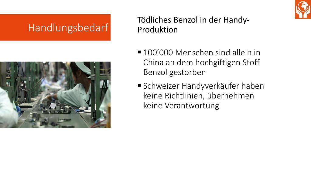 Handlungsbedarf Tödliches Benzol in der Handy- Produktion