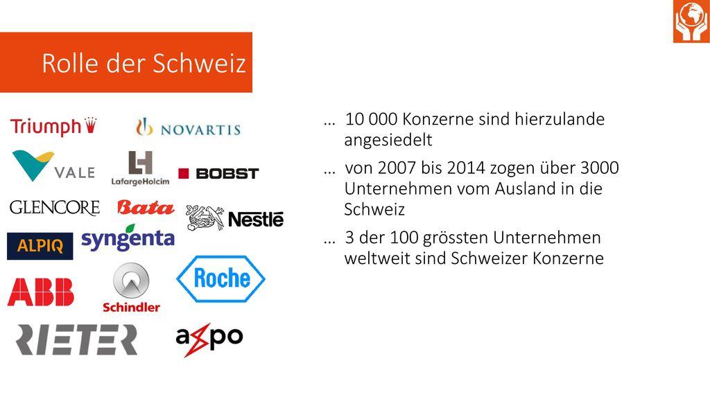 Rolle der Schweiz … 10 000 Konzerne sind hierzulande angesiedelt