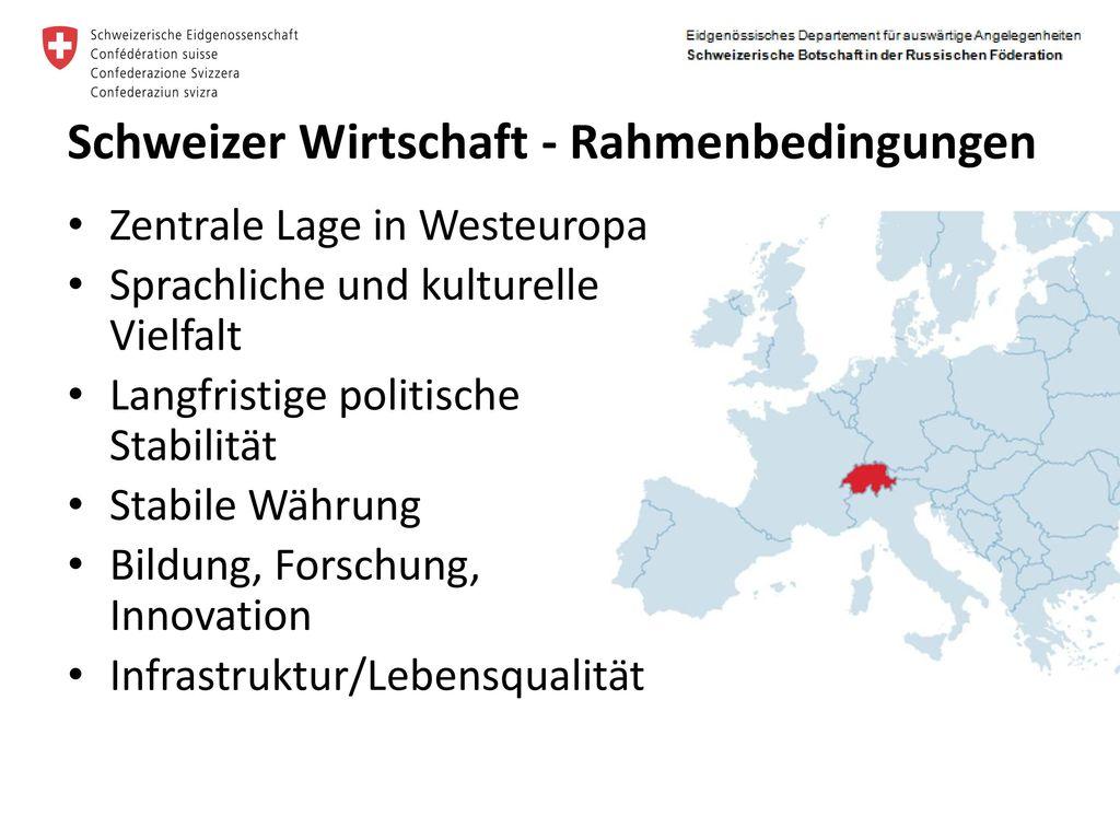 Schweizer Wirtschaft - Rahmenbedingungen