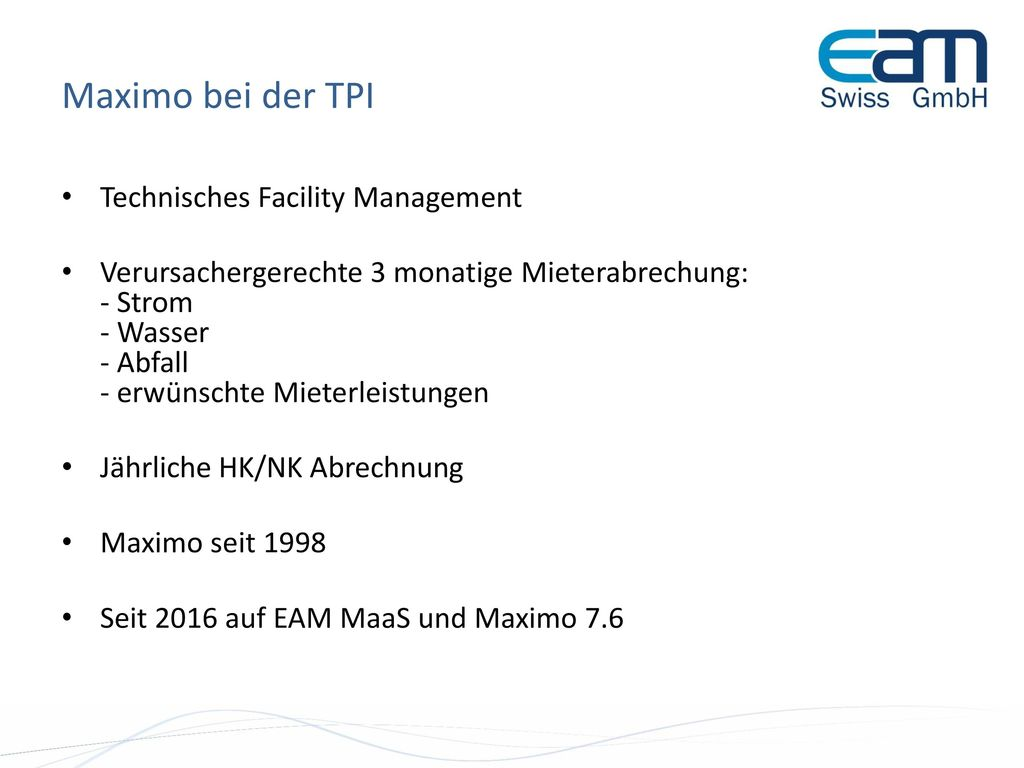 Maximo bei der TPI Technisches Facility Management