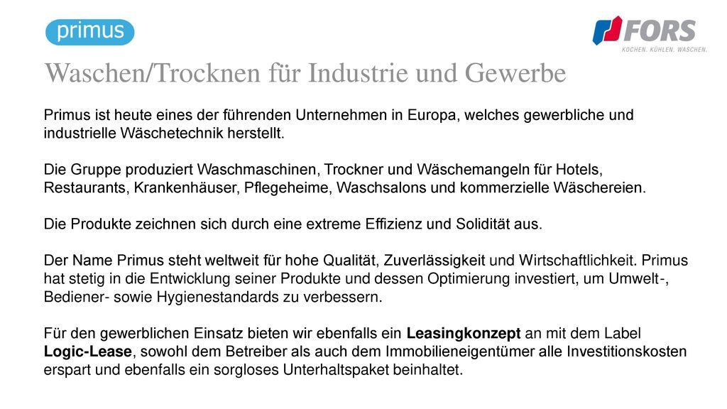 Waschen/Trocknen für Industrie und Gewerbe