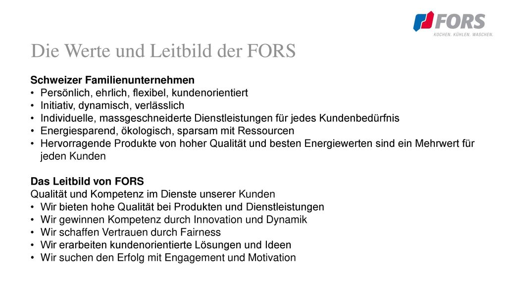 Die Werte und Leitbild der FORS