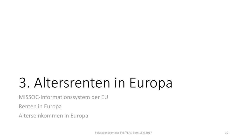 3. Altersrenten in Europa