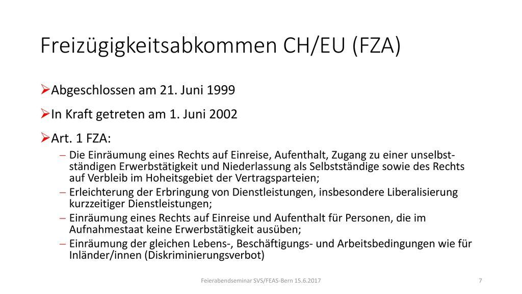 Freizügigkeitsabkommen CH/EU (FZA)