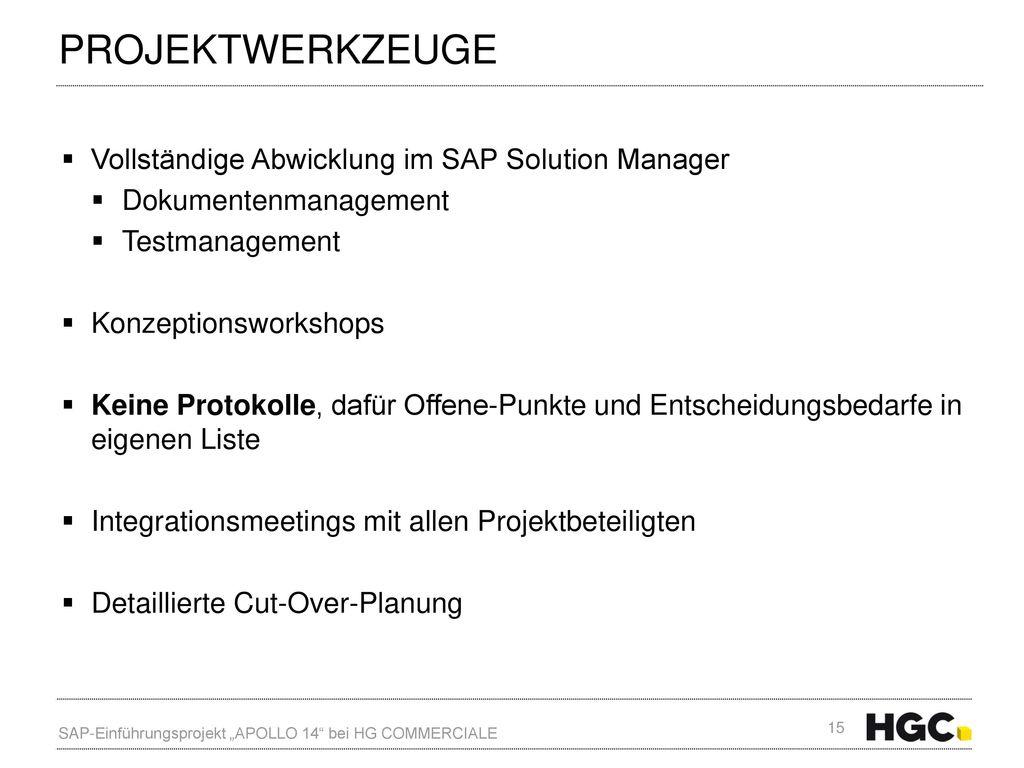 Projektwerkzeuge Vollständige Abwicklung im SAP Solution Manager