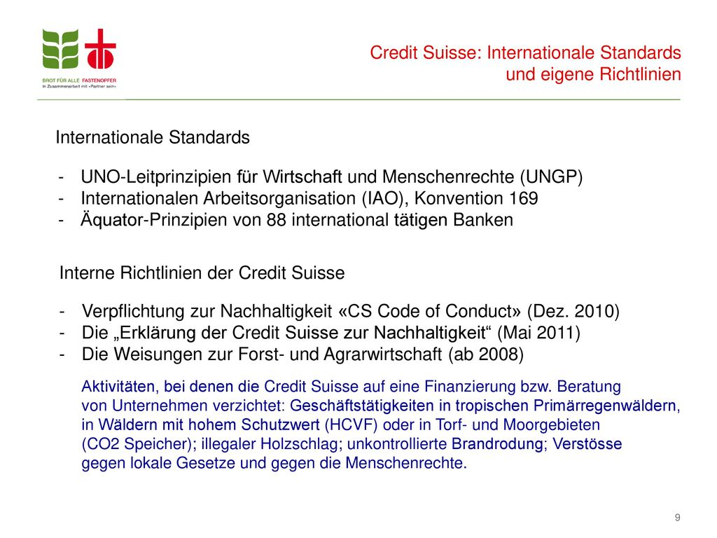 Credit Suisse: Internationale Standards und eigene Richtlinien