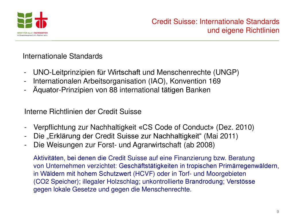 Credit Suisse: Internationale Standards und eigene Richtlinien