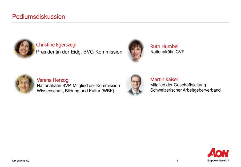 Podiumsdiskussion Christine Egerszegi Präsidentin der Eidg. BVG-Kommission Ruth Humbel. Nationalrätin CVP.