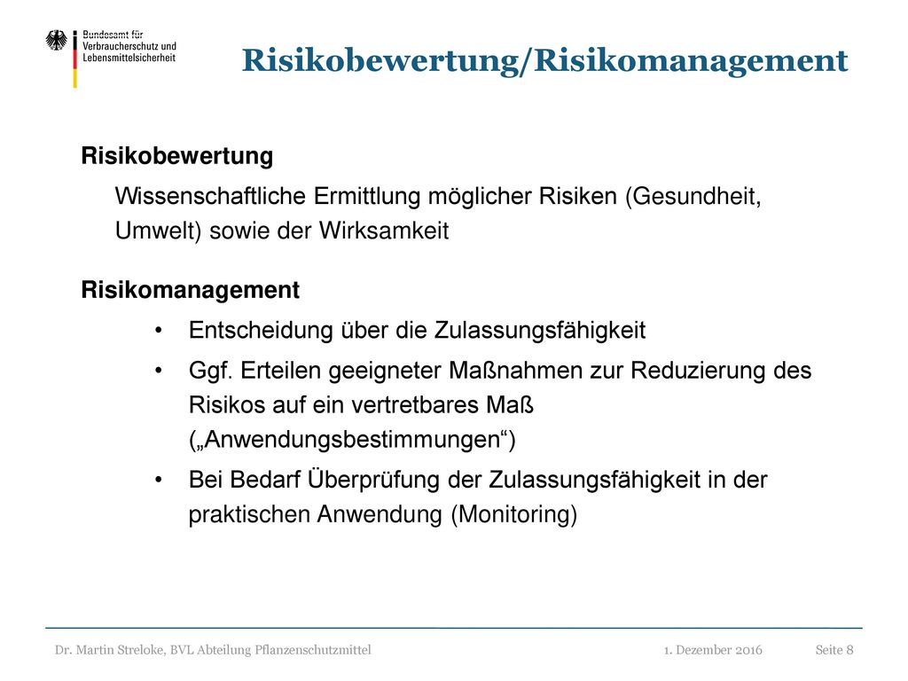 Risikobewertung/Risikomanagement